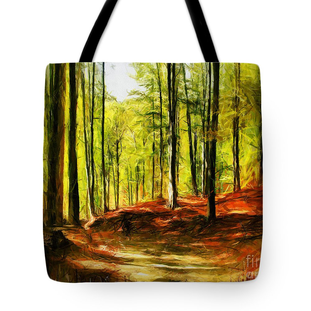Forest Tote Bag featuring the digital art Enchanted Forest - Drawing by Daliana Pacuraru