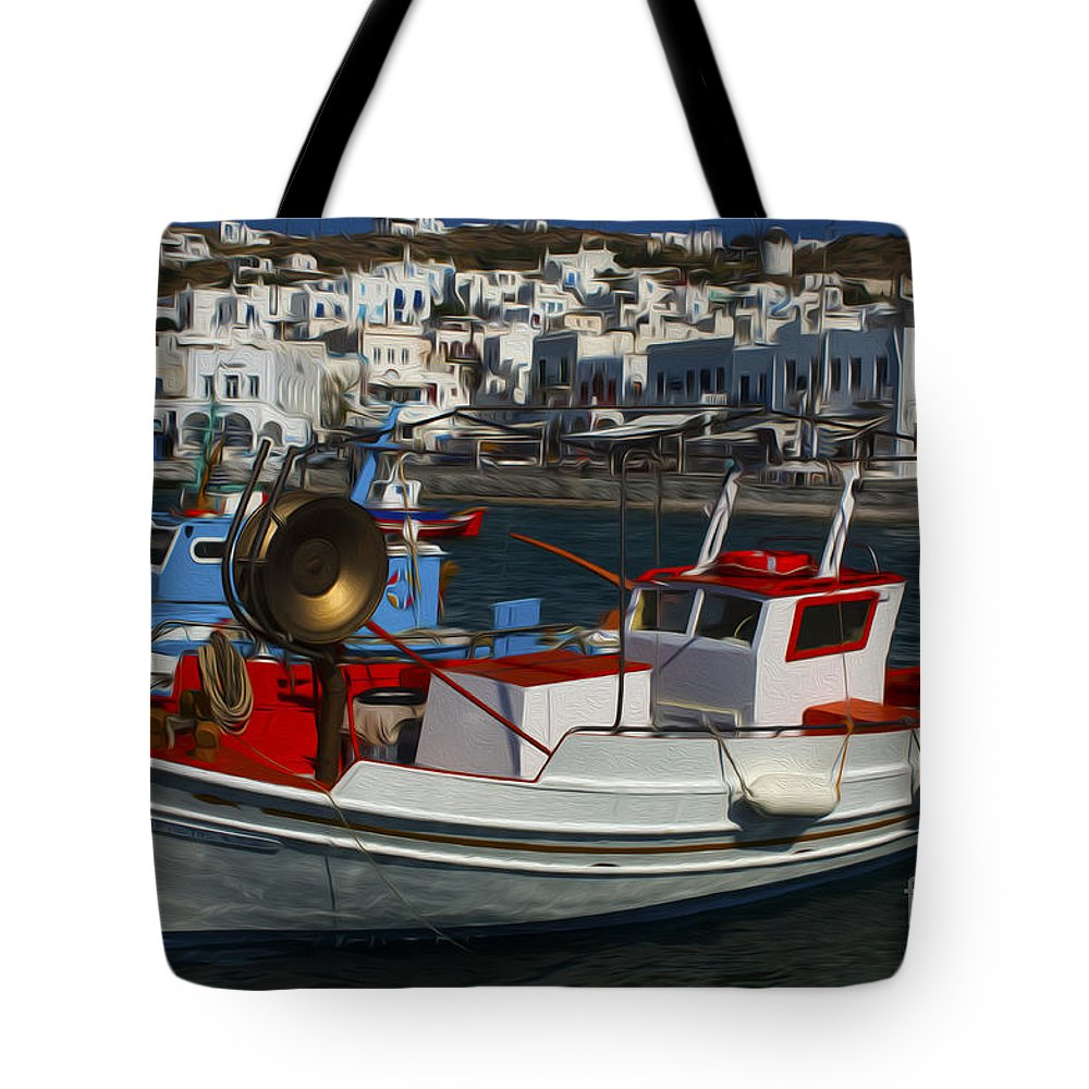 Mykonos Tote Bag featuring the photograph Enchanted Spaces Mykonos Greece 1 by Bob Christopher