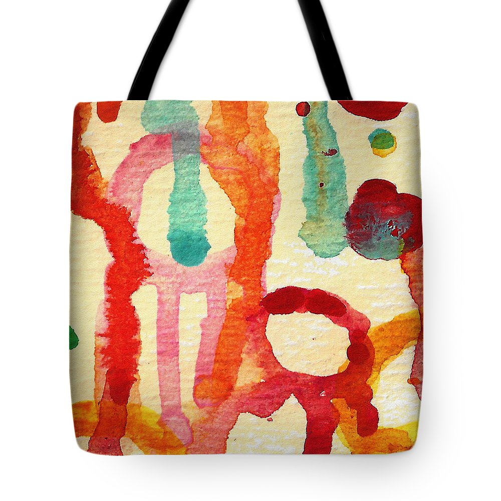Abstract Tote Bag featuring the painting Encounters 5 by Amy Vangsgard