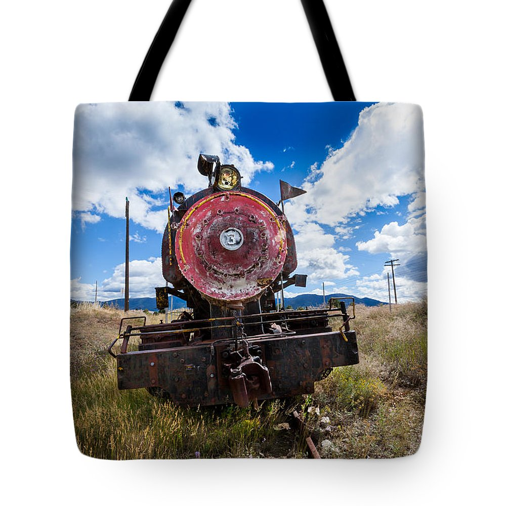 End Of The Line Tote Bag featuring the photograph End Of The Line - Steam Locomotive by Fran Riley