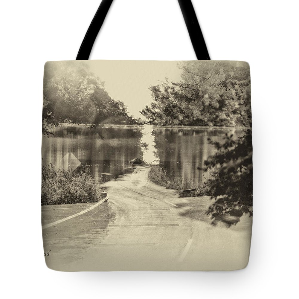 Antique Tote Bag featuring the photograph End Of The Road Merged Image by Thomas Woolworth