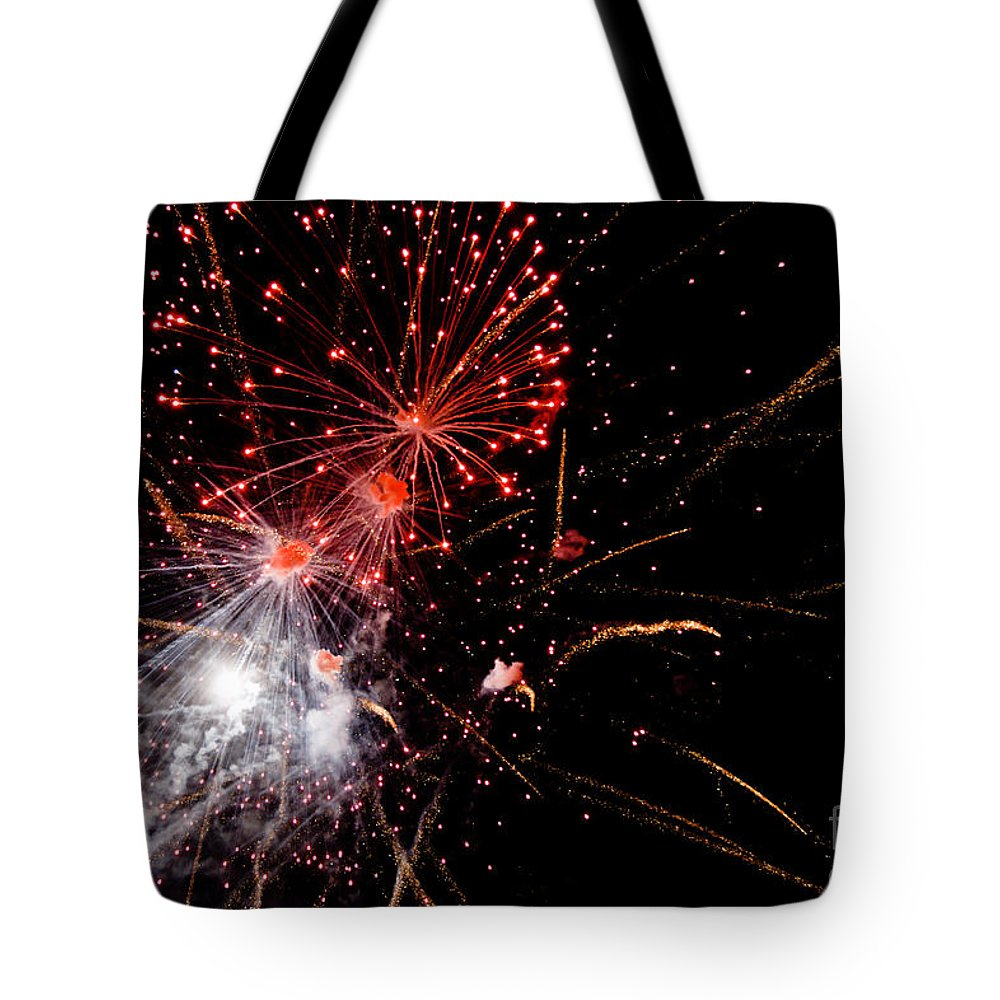 Fireworks Tote Bag featuring the photograph End With A Bang by Cheryl Baxter