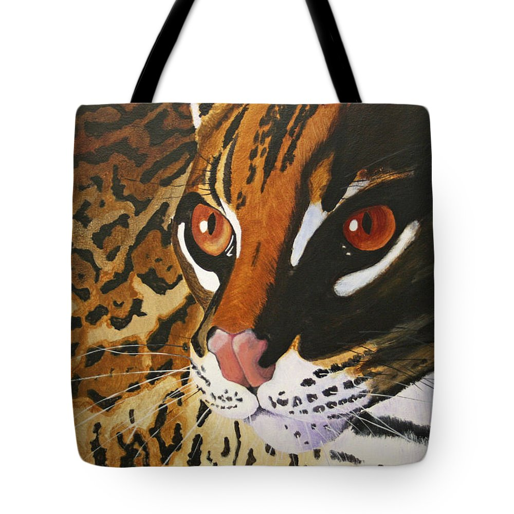 Endangered Tote Bag featuring the painting Endangered - Ocelot by Mike Robles