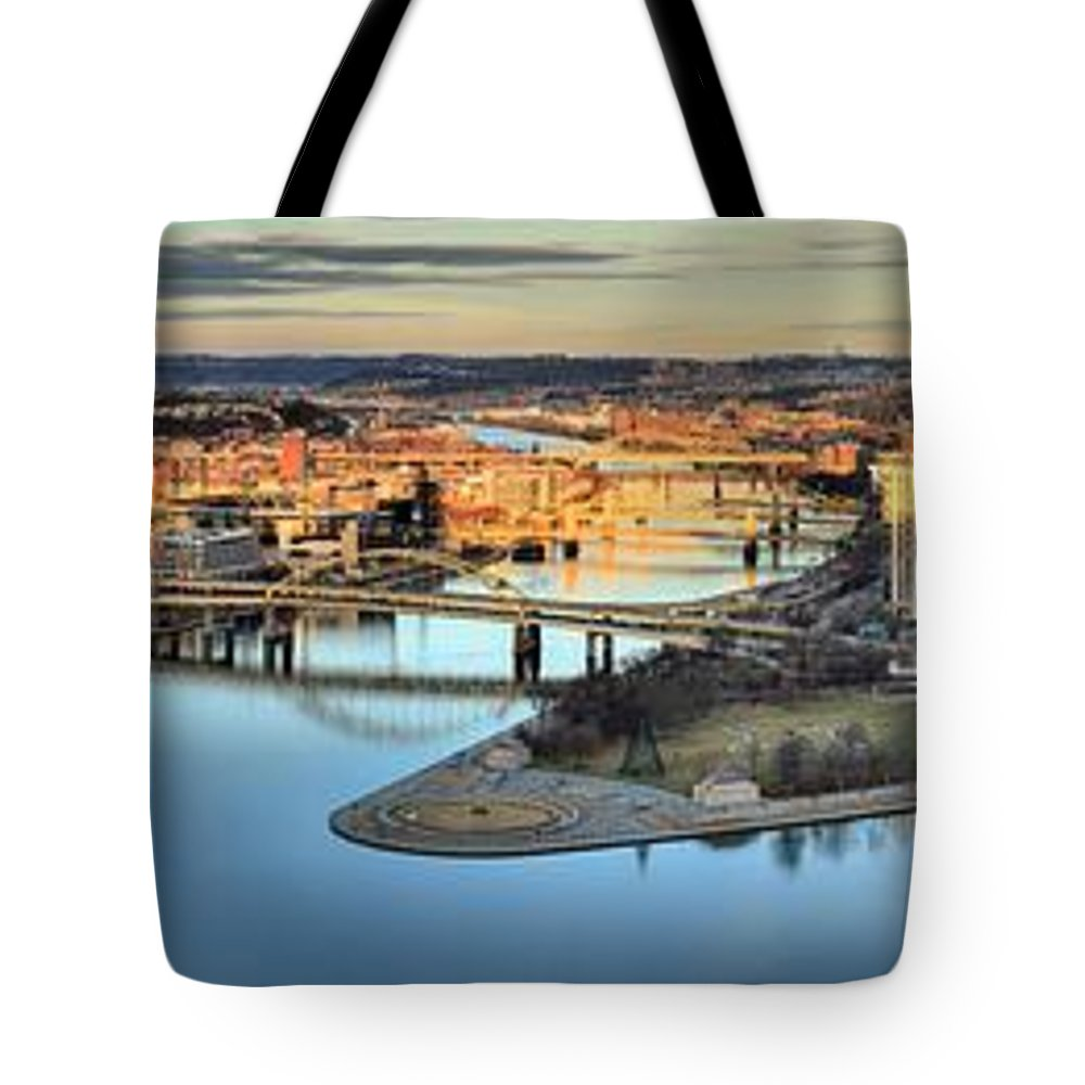 Pittsburgh Skyline Tote Bag featuring the photograph Endless Pittsburgh Skyline Reflections by Adam Jewell