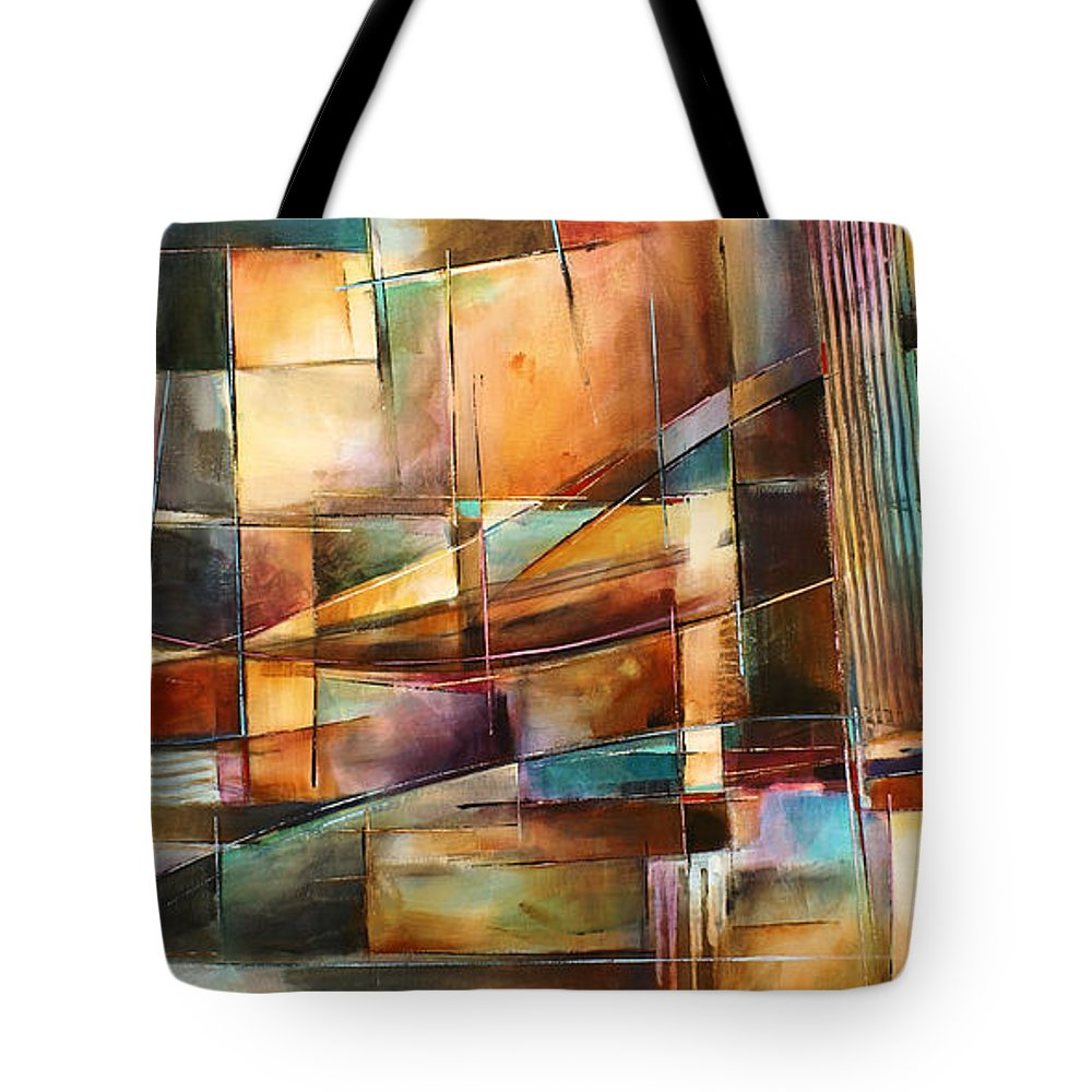 Abstract Painting Tote Bag featuring the painting 'endless Shift' by Michael Lang