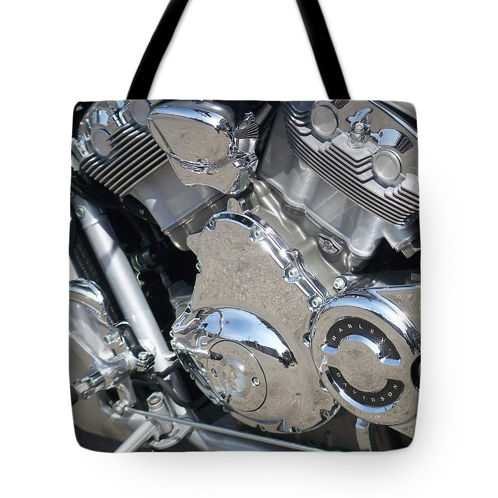 Motorcycles Tote Bag featuring the photograph Engine Close-up 3 by Anita Burgermeister