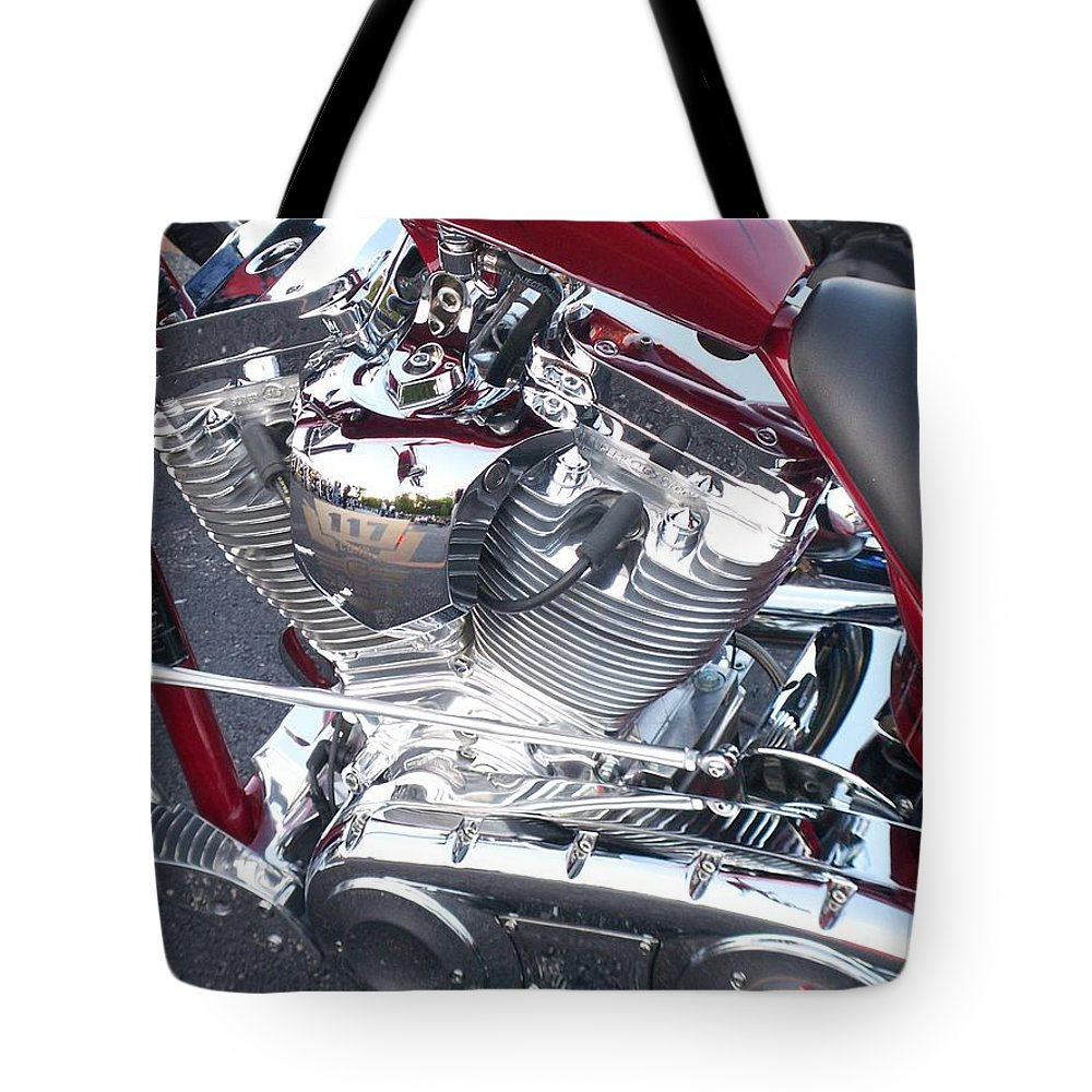 Motorcycles Tote Bag featuring the photograph Engine Close-up 4 by Anita Burgermeister