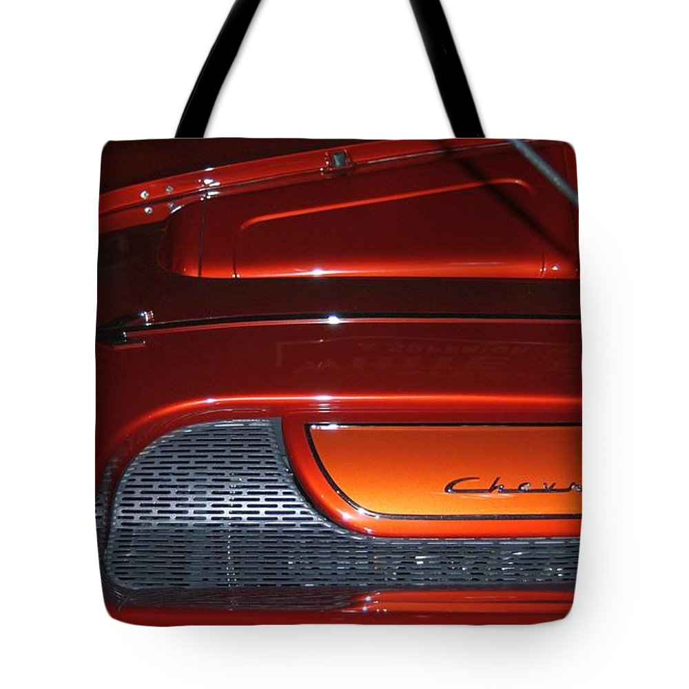 Chevy Tote Bag featuring the photograph Engine Cover For 57 Nomad by Rob Luzier