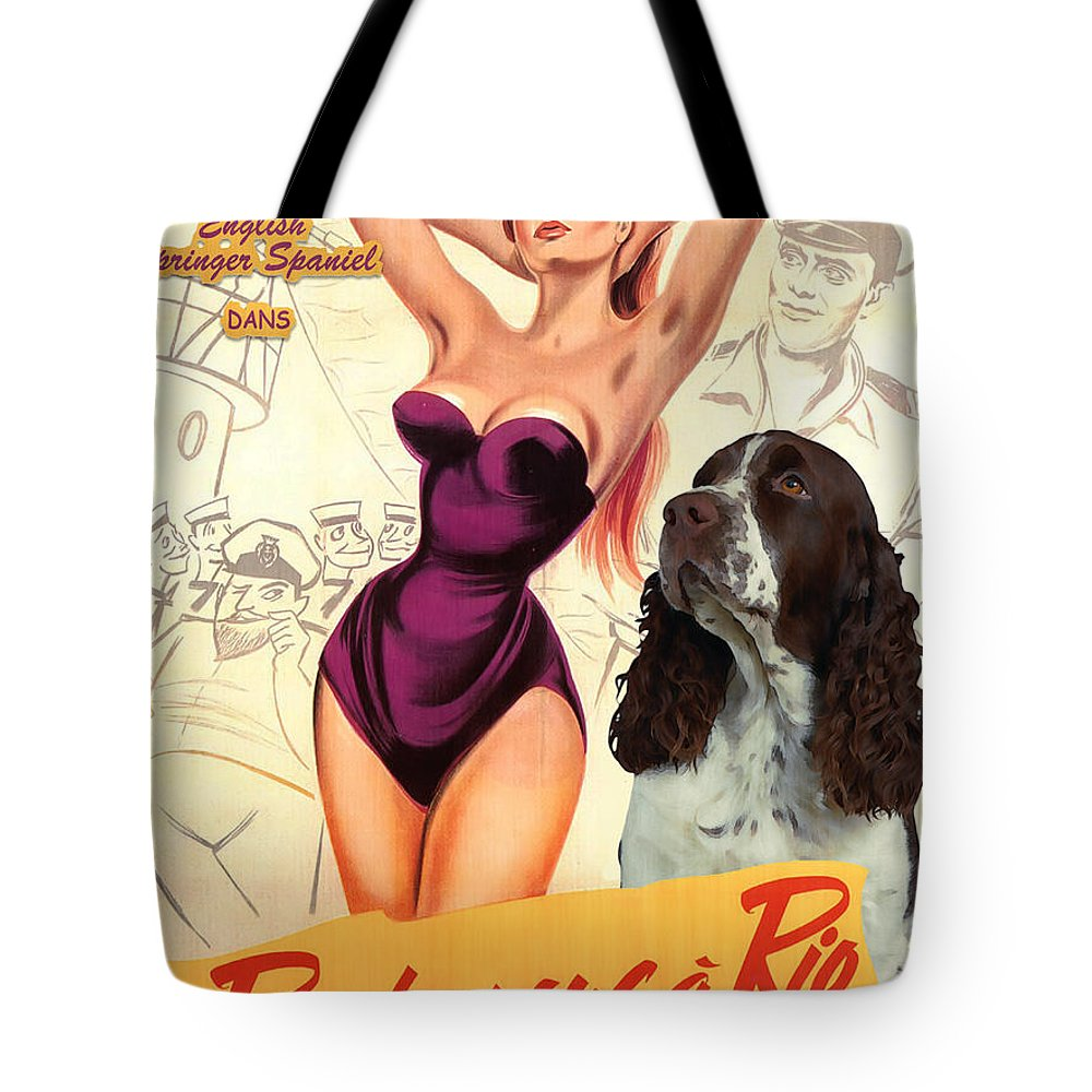 English Springer Spaniel Tote Bag featuring the painting English Springer Spaniel Art Canvas Print - Doctor At Sea Movie Poster by Sandra Sij