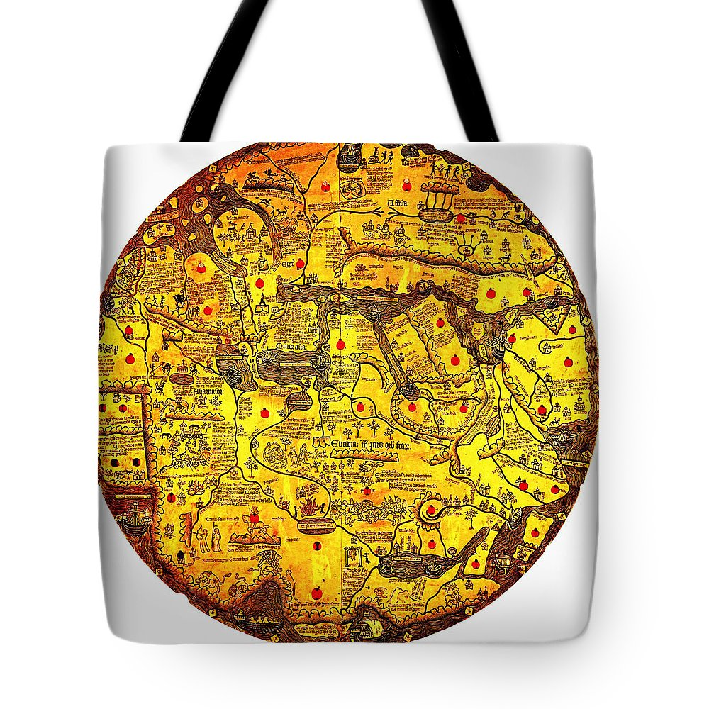 Di Velletri Is An Engraved World Map Oriented With South At The Top Created In The First Half Of The 15th Century (ca Tote Bag featuring the painting Engraved World Map Oriented With South by MotionAge Designs