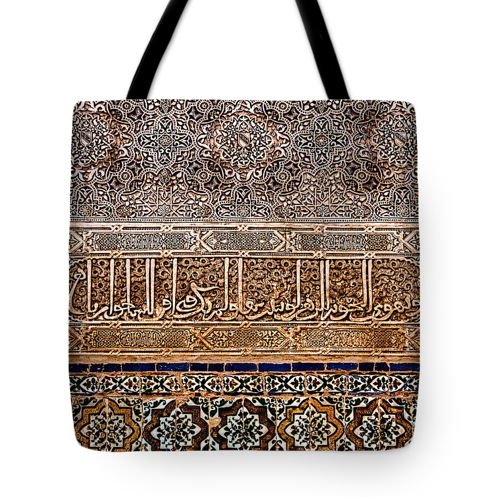 Alhambra Tote Bag featuring the photograph Engraved Writing And Colored Tiles No2 by Weston Westmoreland