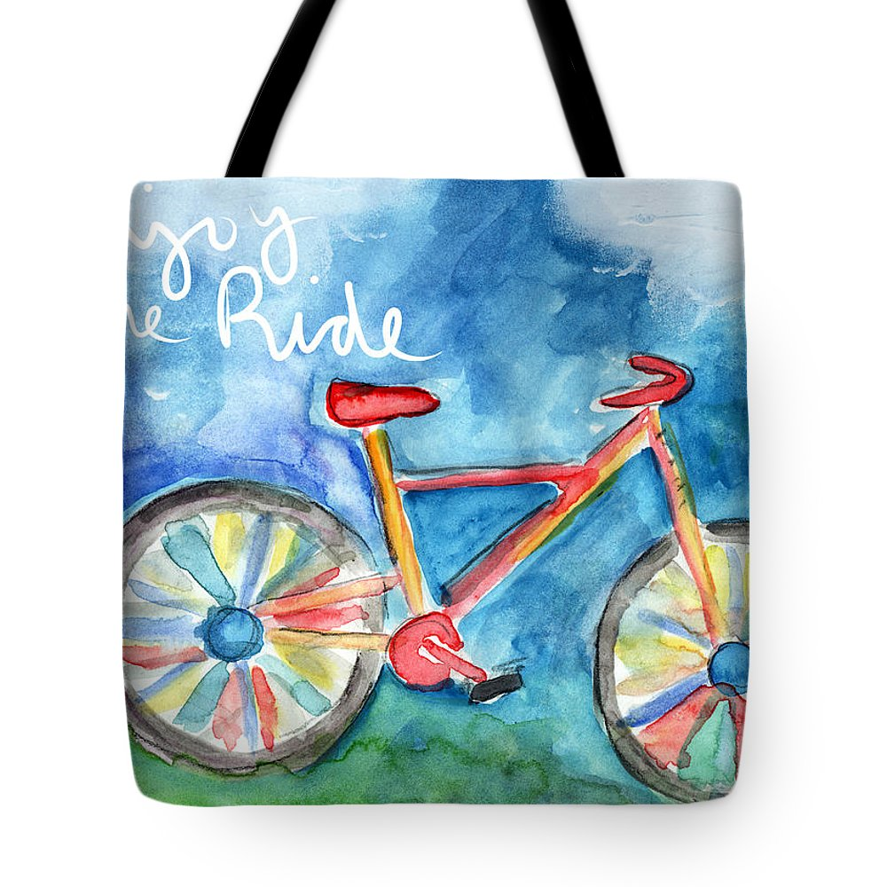 Bike Tote Bag featuring the painting Enjoy The Ride- Colorful Bike Painting by Linda Woods