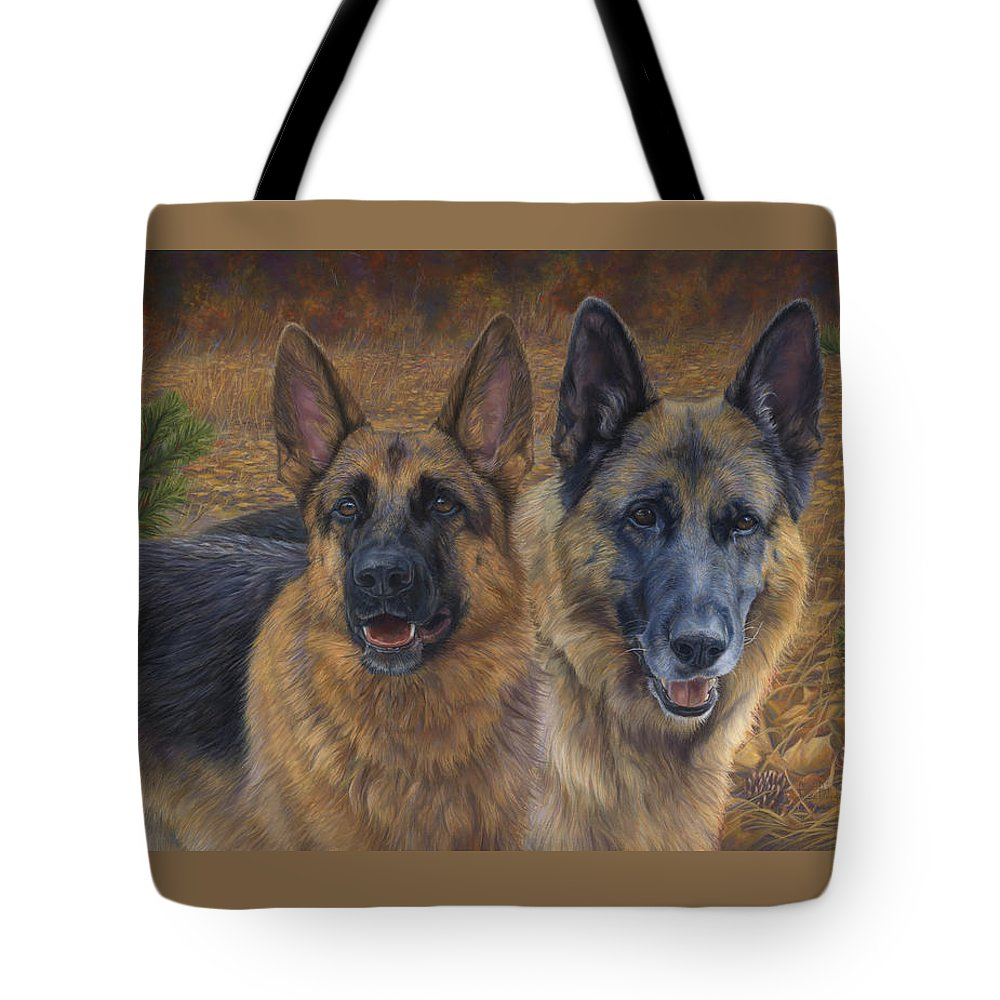 Dog Tote Bag featuring the painting Enjoying The Fall by Lucie Bilodeau