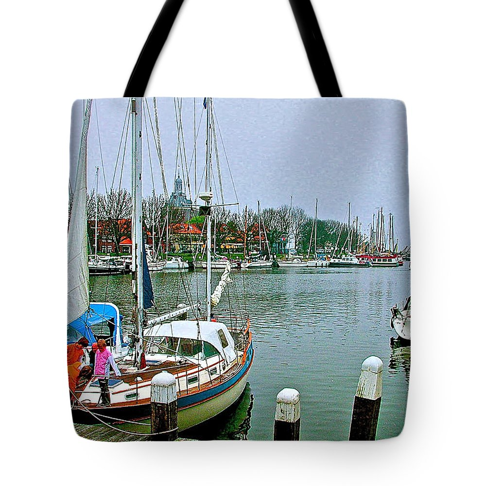 Marina In Enkhuizen Tote Bag featuring the photograph Enkhuizen Marina-netherlands by Ruth Hager
