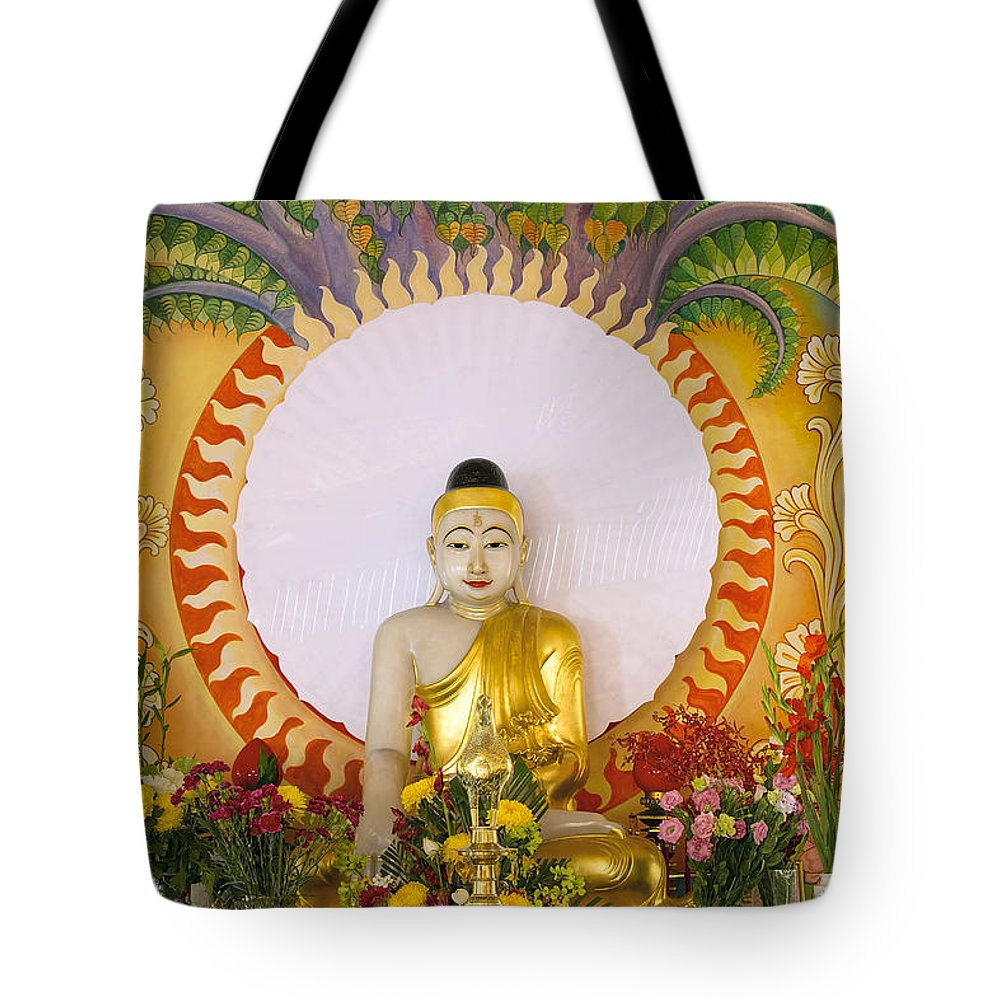 Buddha Tote Bag featuring the photograph Enlightened Buddha Sitting Under The Bodhi Tree by Jit Lim