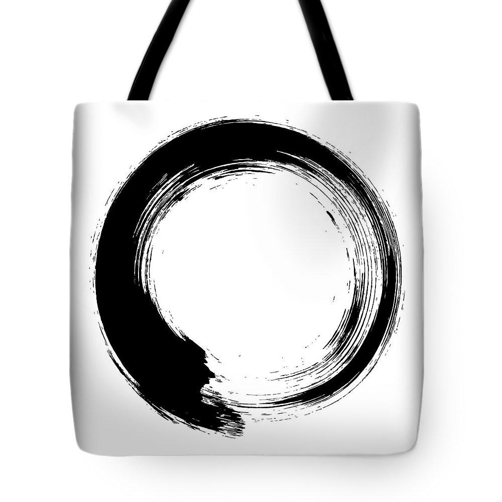 East Tote Bag featuring the digital art Enso – Circular Brush Stroke Japanese by Thoth adan