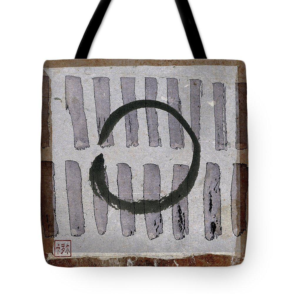 Japan Tote Bag featuring the photograph Enso Circle On Japanese Papers by Carol Leigh