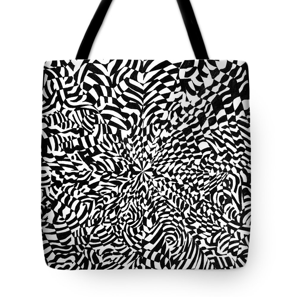 Abstract Tote Bag featuring the drawing Entangle by Crystal Hubbard