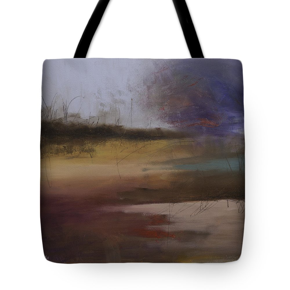 Landscape Painting Tote Bag featuring the painting Entangled Abstract Landscape Original Painting On Stretched Canvas Signed by Gray Artus