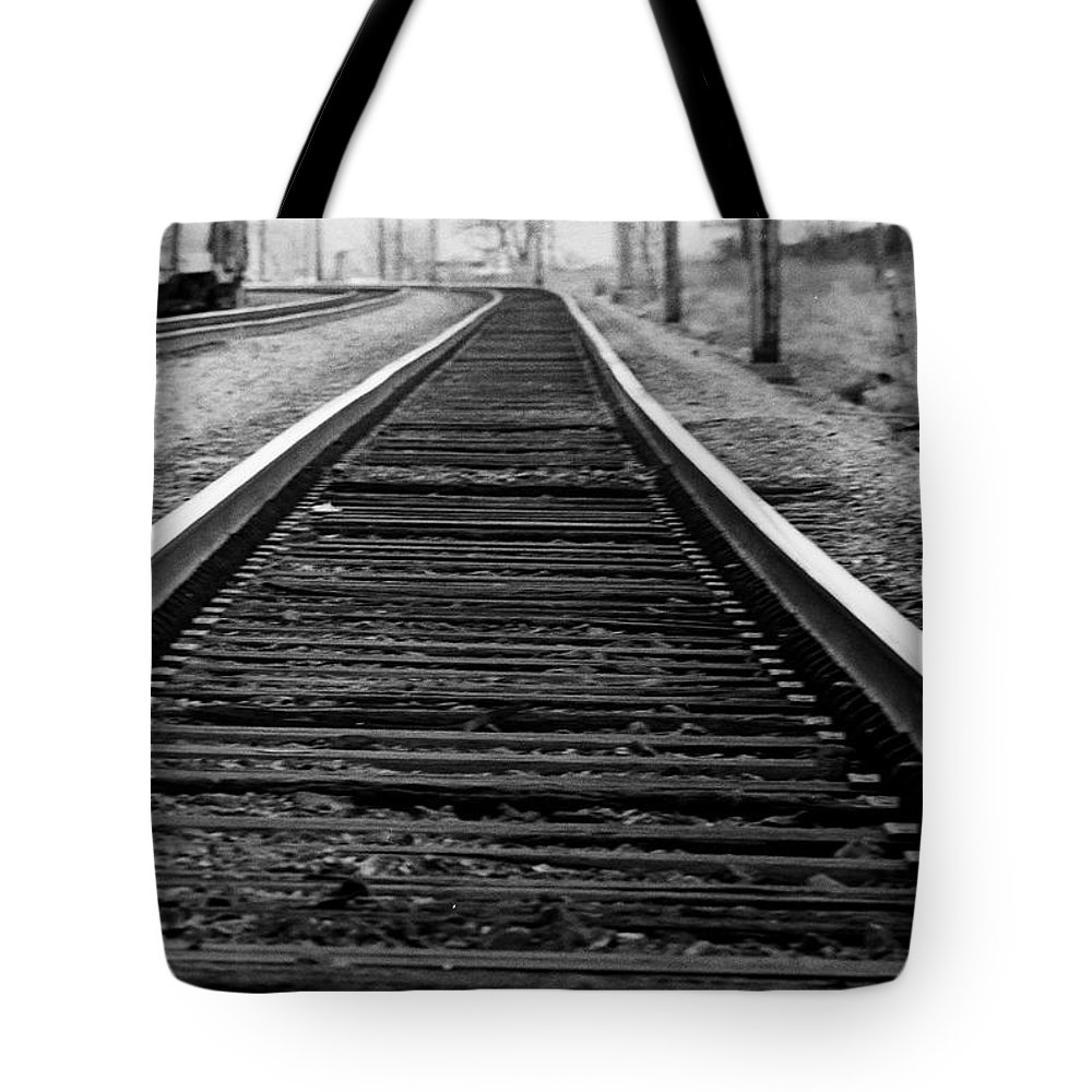 Tracks Tote Bag featuring the photograph Entering The Train Yard. Washington Dc by Thomas Marchessault