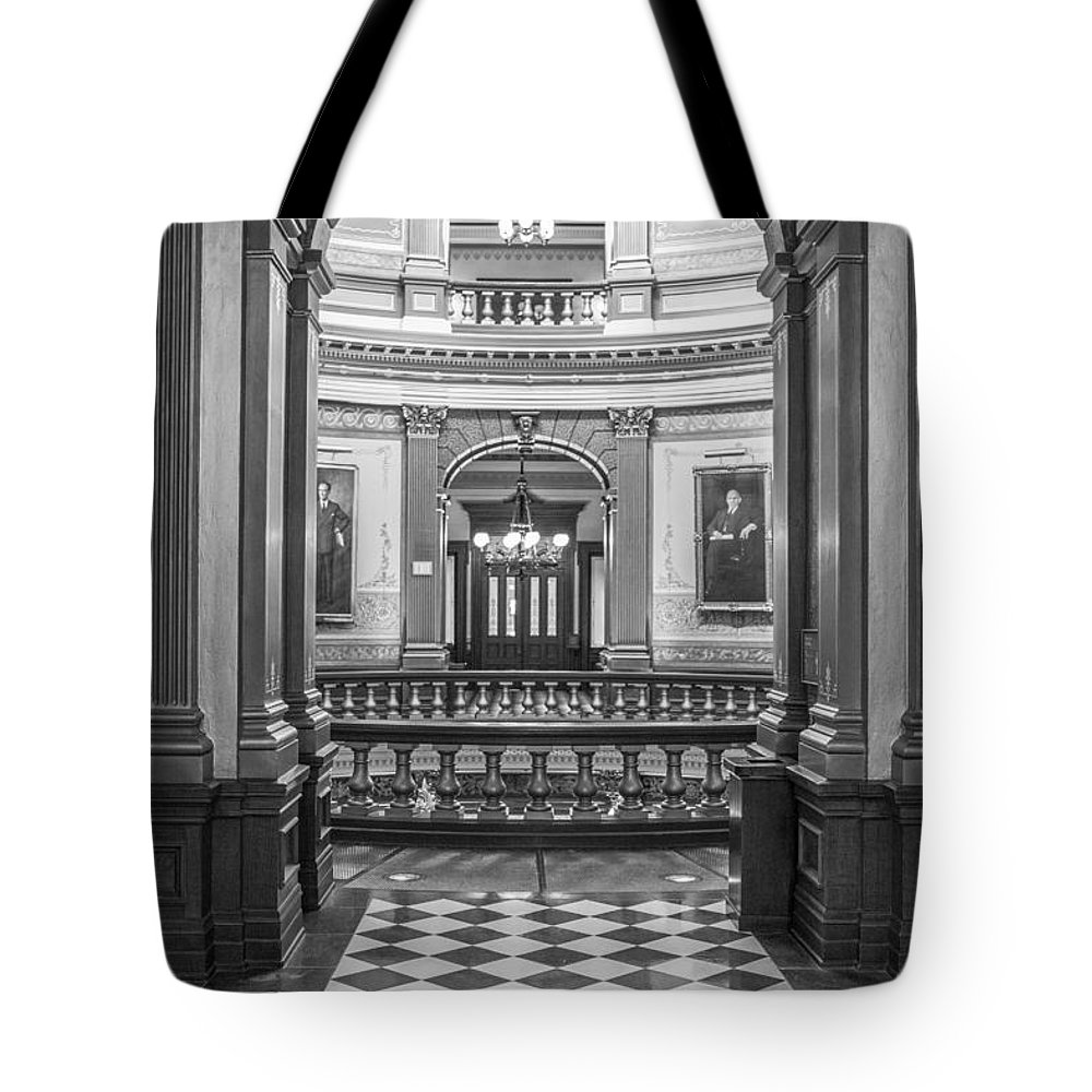 Michigan Tote Bag featuring the photograph Entrance At Michigan State Capital by John McGraw