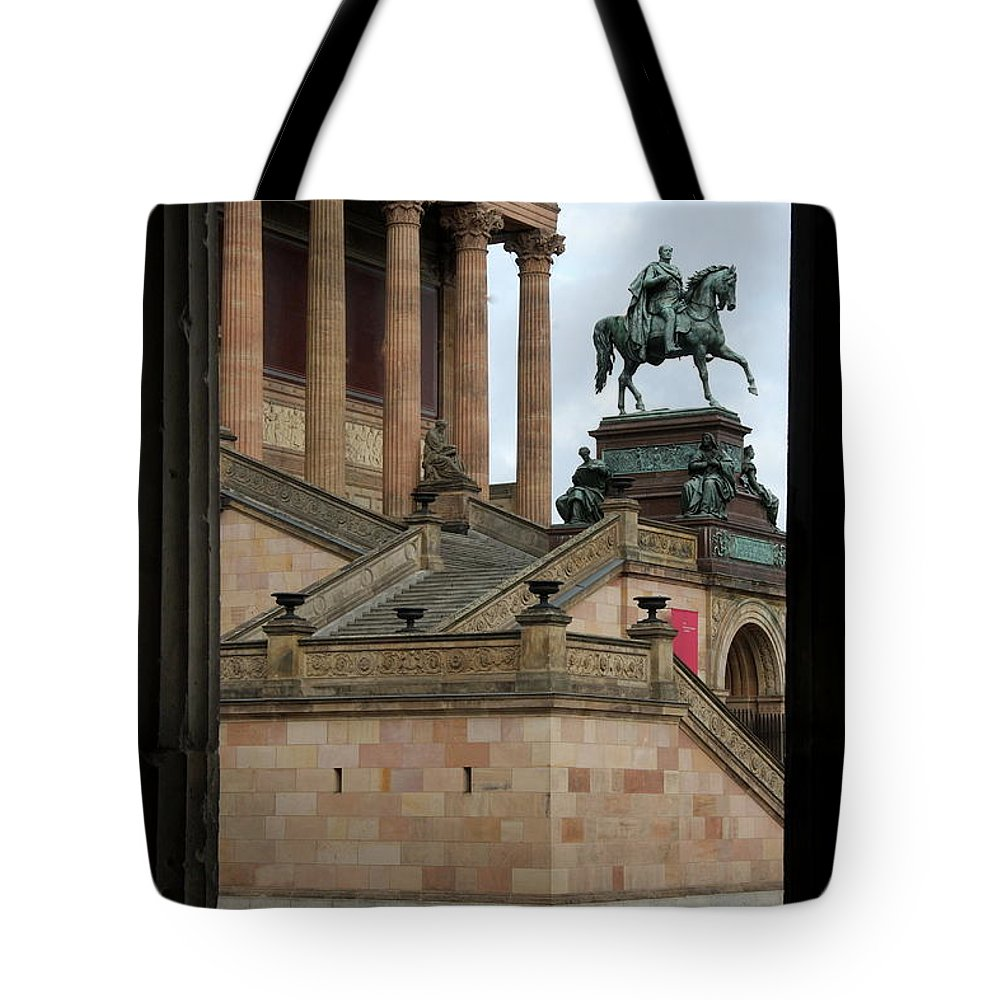 Old National Gallery Tote Bag featuring the photograph Entrance Old National Gallery Berlin by Christiane Schulze Art And Photography
