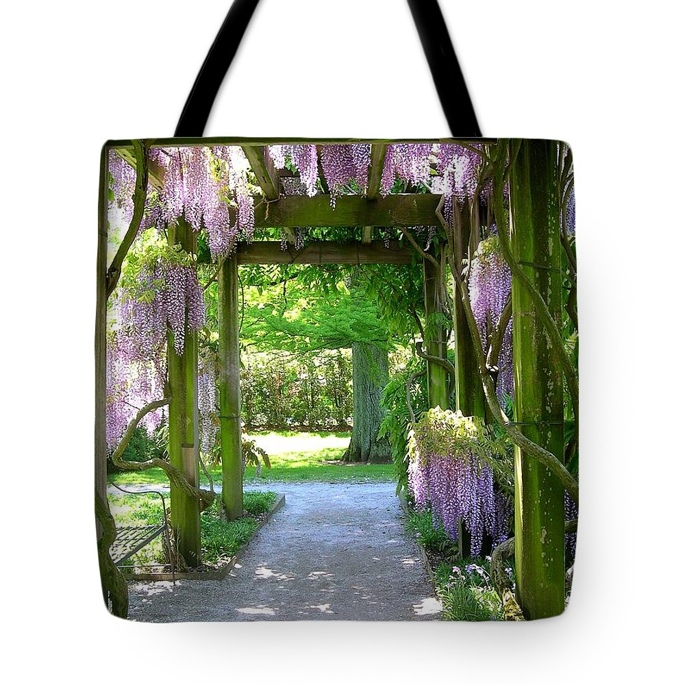 Purple Wisteria Tote Bag featuring the photograph Entranceway To Fantasyland by Susan Maxwell Schmidt