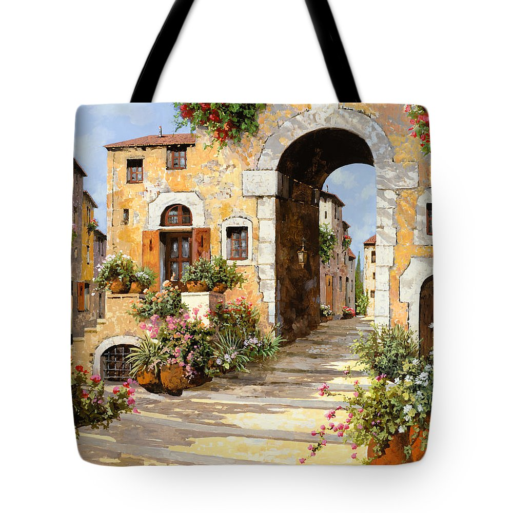 Cityscape Tote Bag featuring the painting Entrata Al Borgo by Guido Borelli