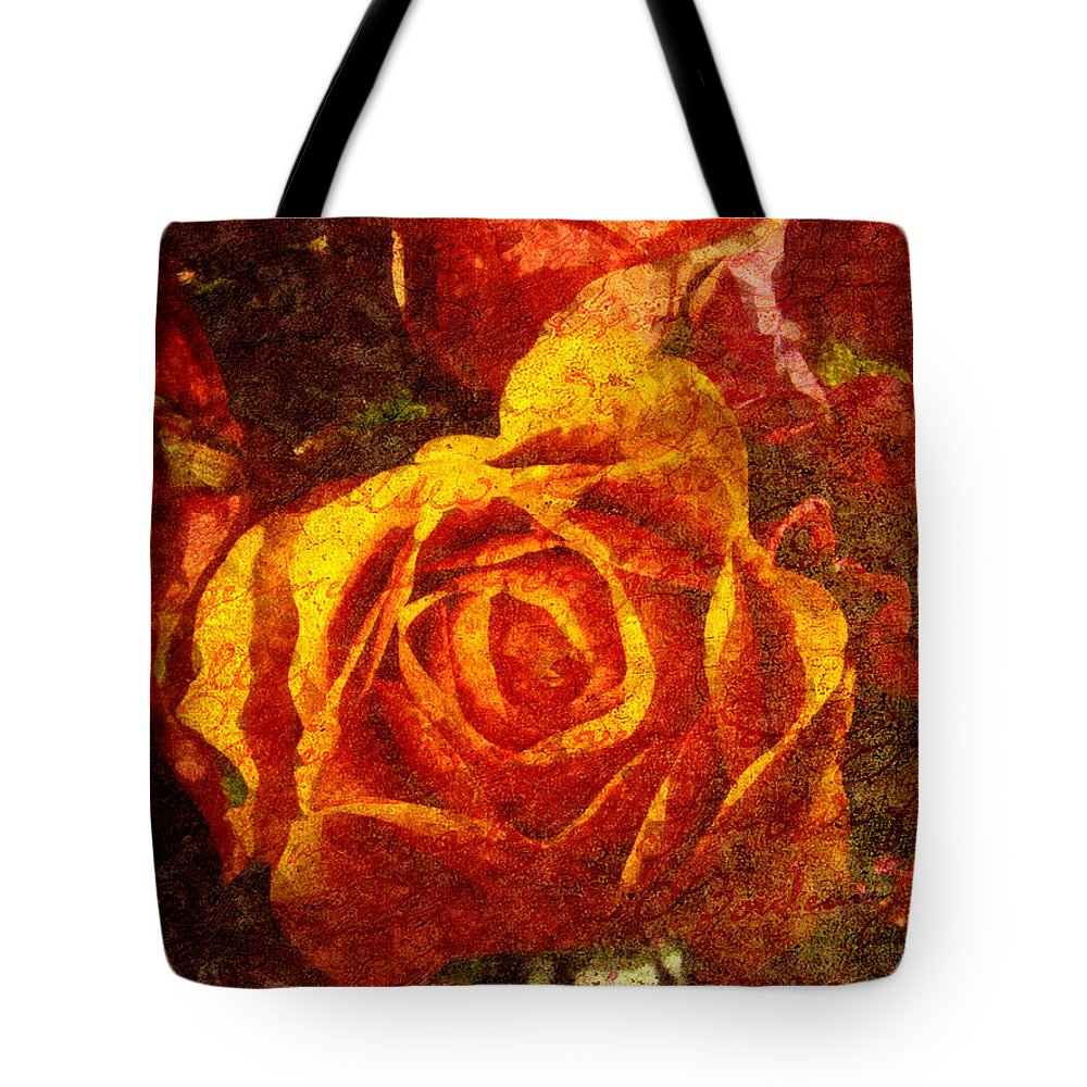 Orange Rose Digital Art Tote Bags