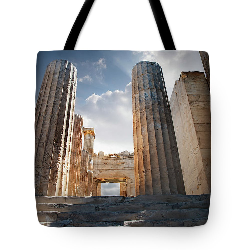 Tranquility Tote Bag featuring the photograph Entryway Into The Acropolis by Ed Freeman