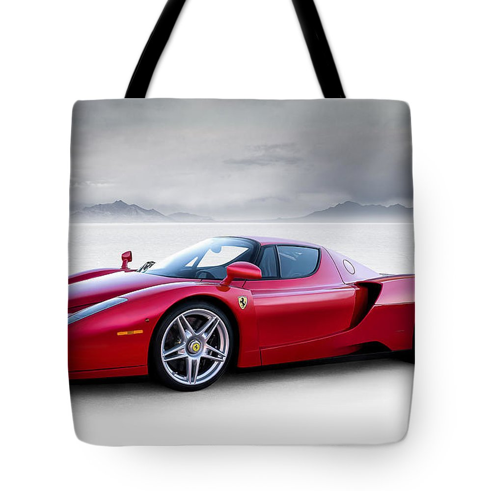 Red Tote Bag featuring the digital art Enzo by Douglas Pittman