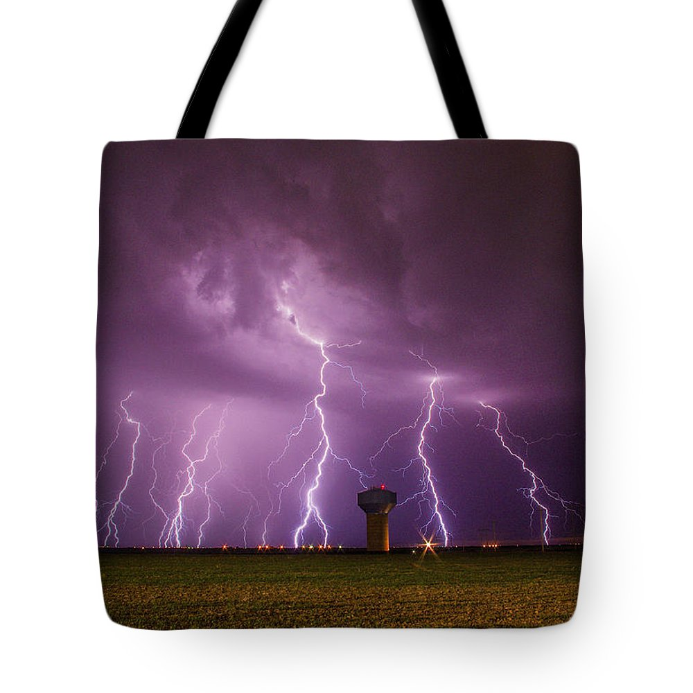 Lightning Tote Bag featuring the photograph Epic Lightning by Brandon Green