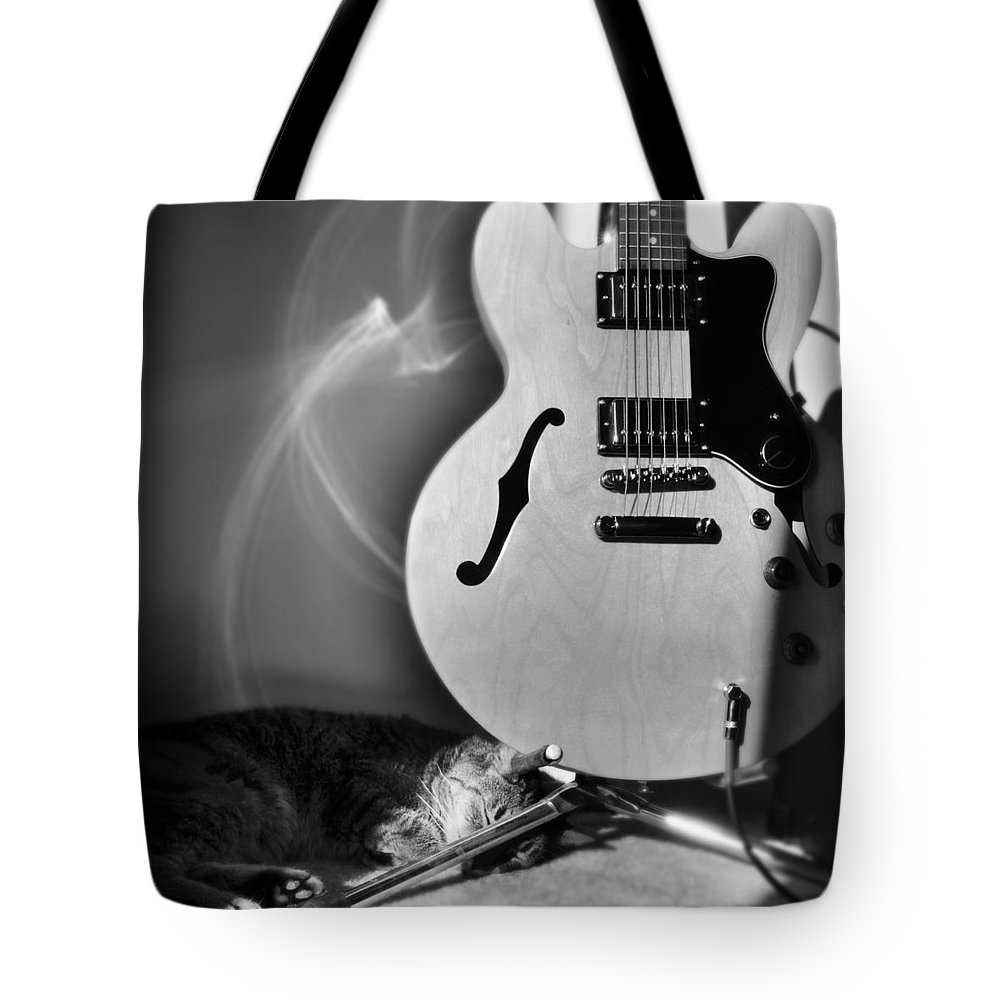Cat Tote Bag featuring the photograph Epiphone Cat by Kurt Bonnell
