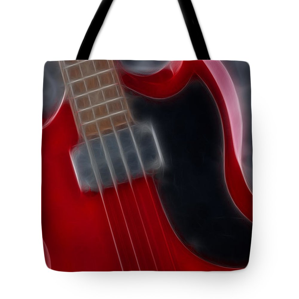 Guitar Tote Bag featuring the photograph Epiphone Sg Bass-9193-fractal by Gary Gingrich Galleries