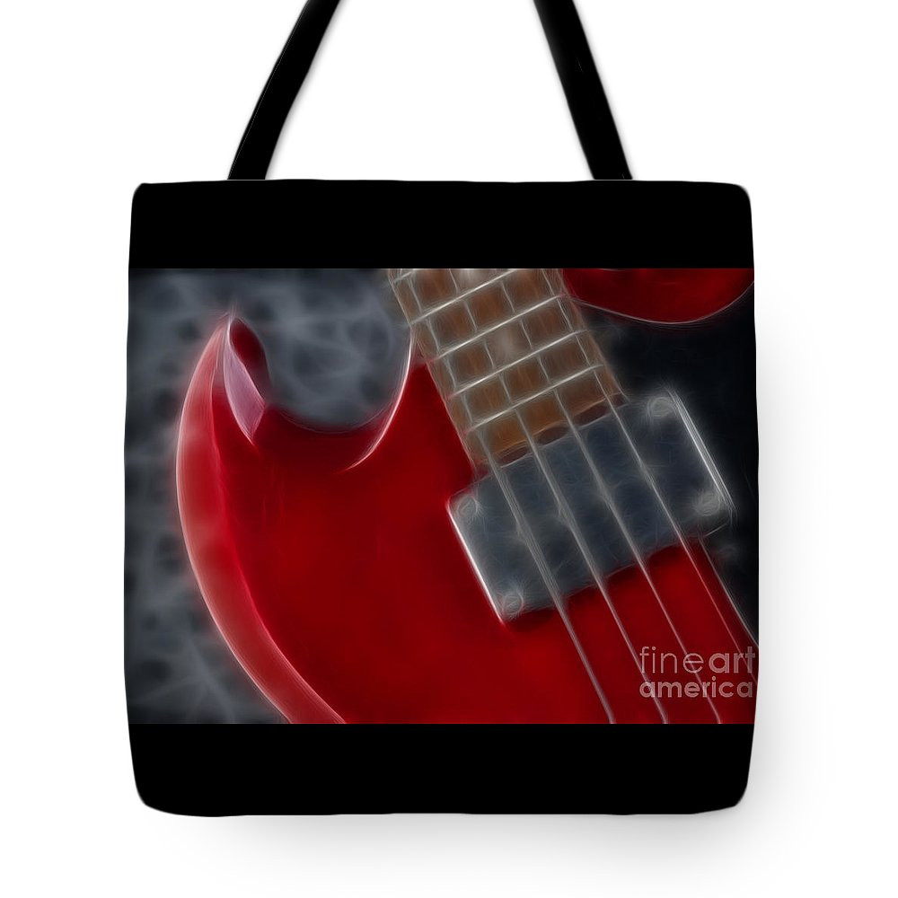 Guitar Tote Bag featuring the photograph Epiphone Sg Bass-9222-fractal by Gary Gingrich Galleries