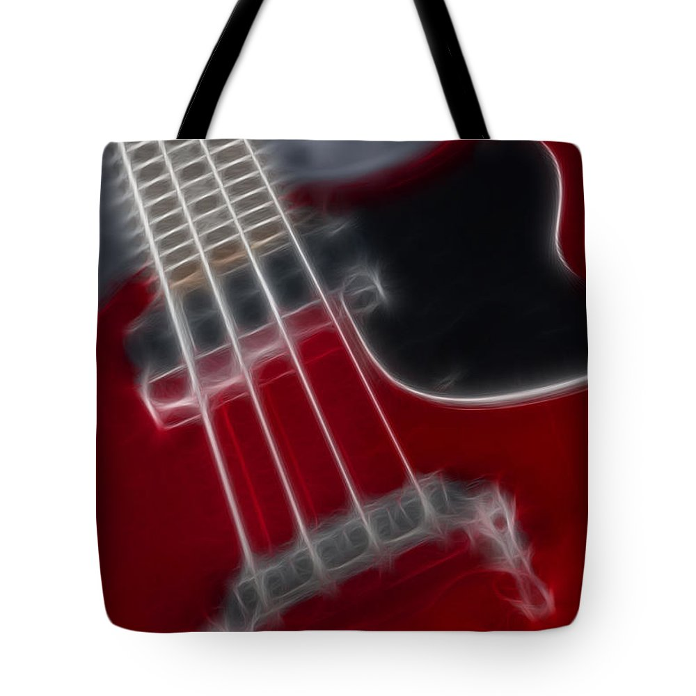 Guitar Tote Bag featuring the photograph Epiphone Sg Bass-9241-fractal by Gary Gingrich Galleries