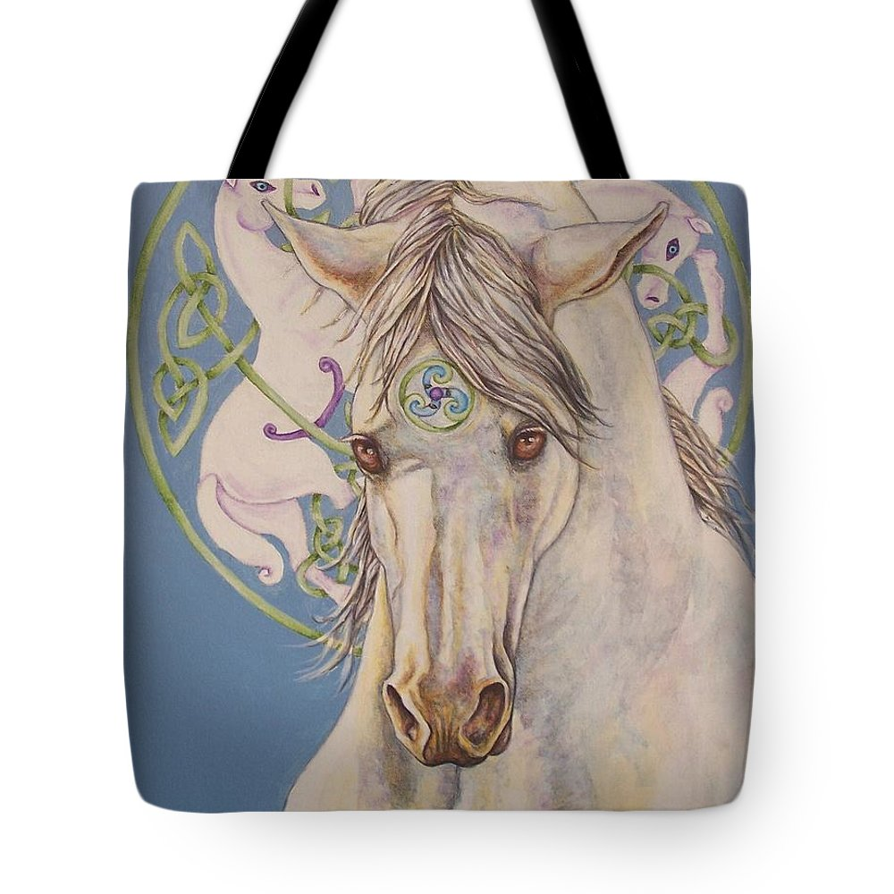 Celtic Tote Bag featuring the painting Epona The Great Mare by Beth Clark-McDonal