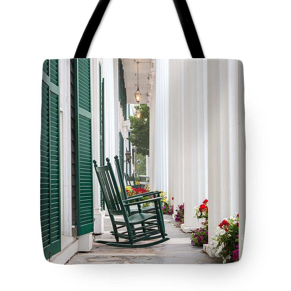 America Tote Bag featuring the photograph Equinox Hotel Columns by Susan Cole Kelly