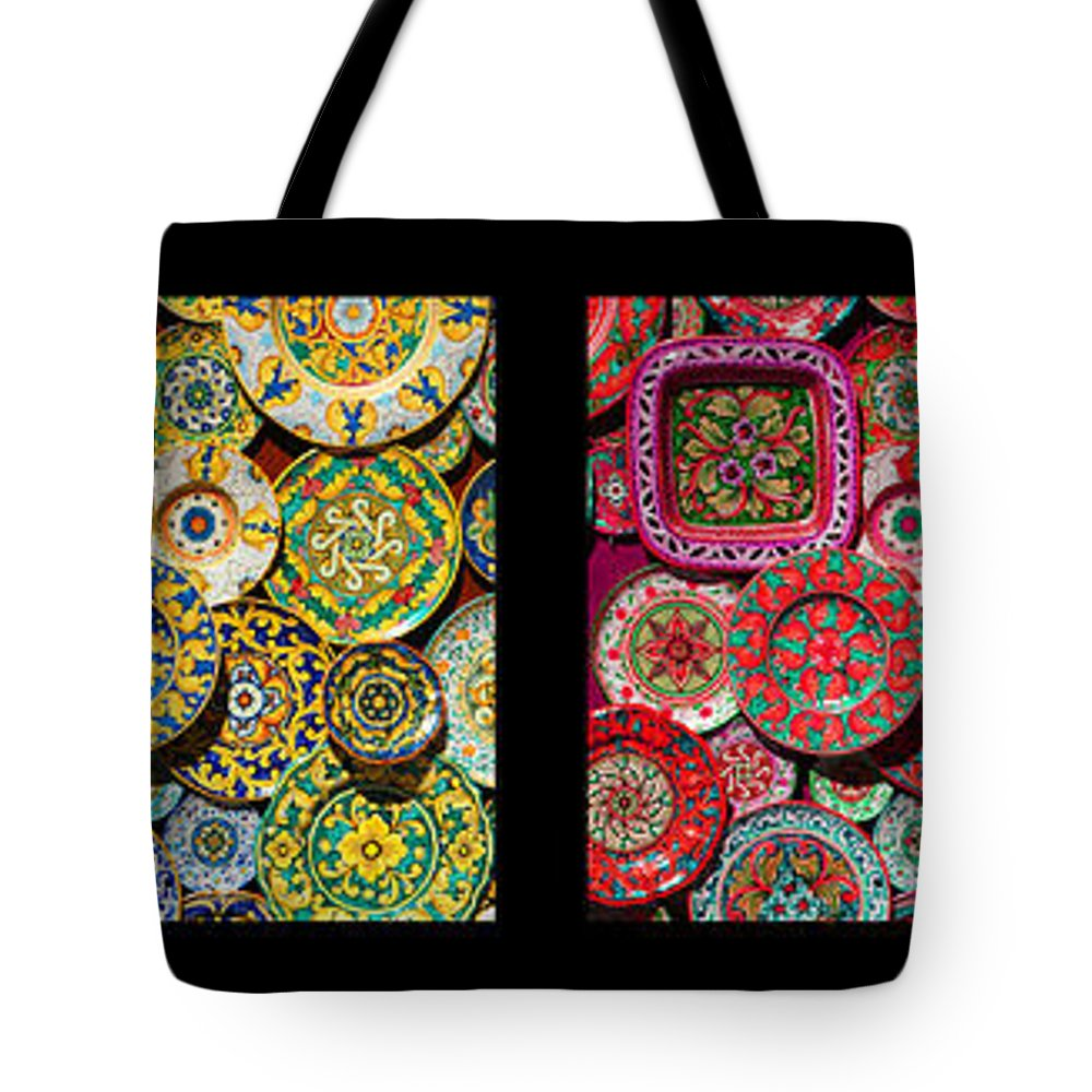 Erice Tote Bag featuring the photograph Erice Italy Souvenir Plates by Mike Nellums