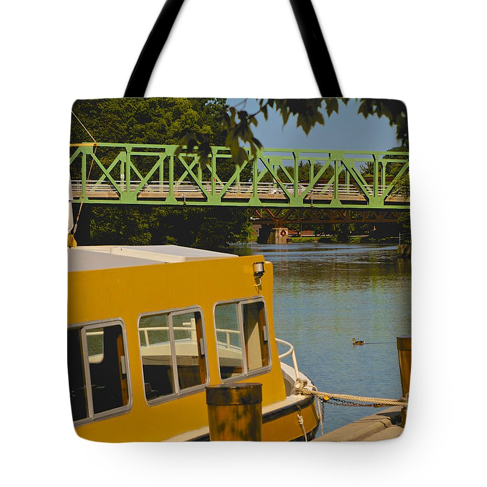 Erie Canal Tote Bag featuring the photograph Erie Canal At Pittsford Ny by William Norton