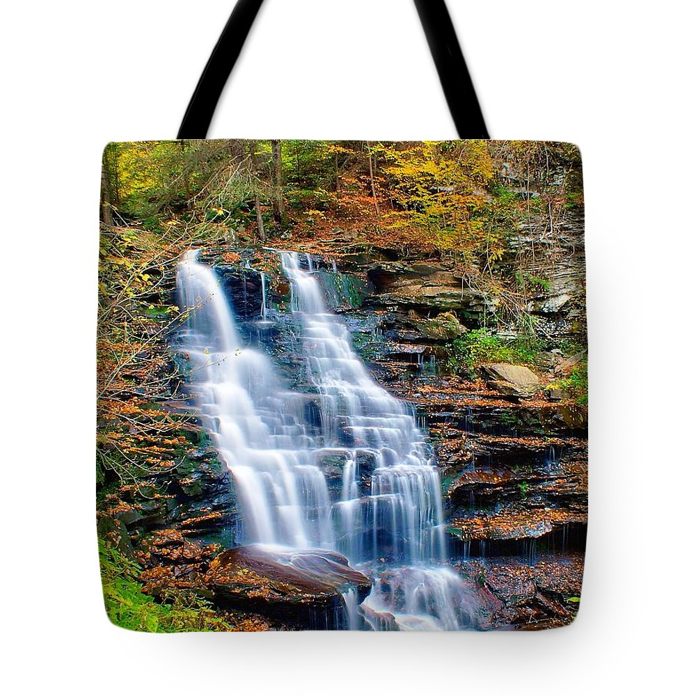 Waterfall Tote Bag featuring the photograph Erie Falls by Nick Zelinsky