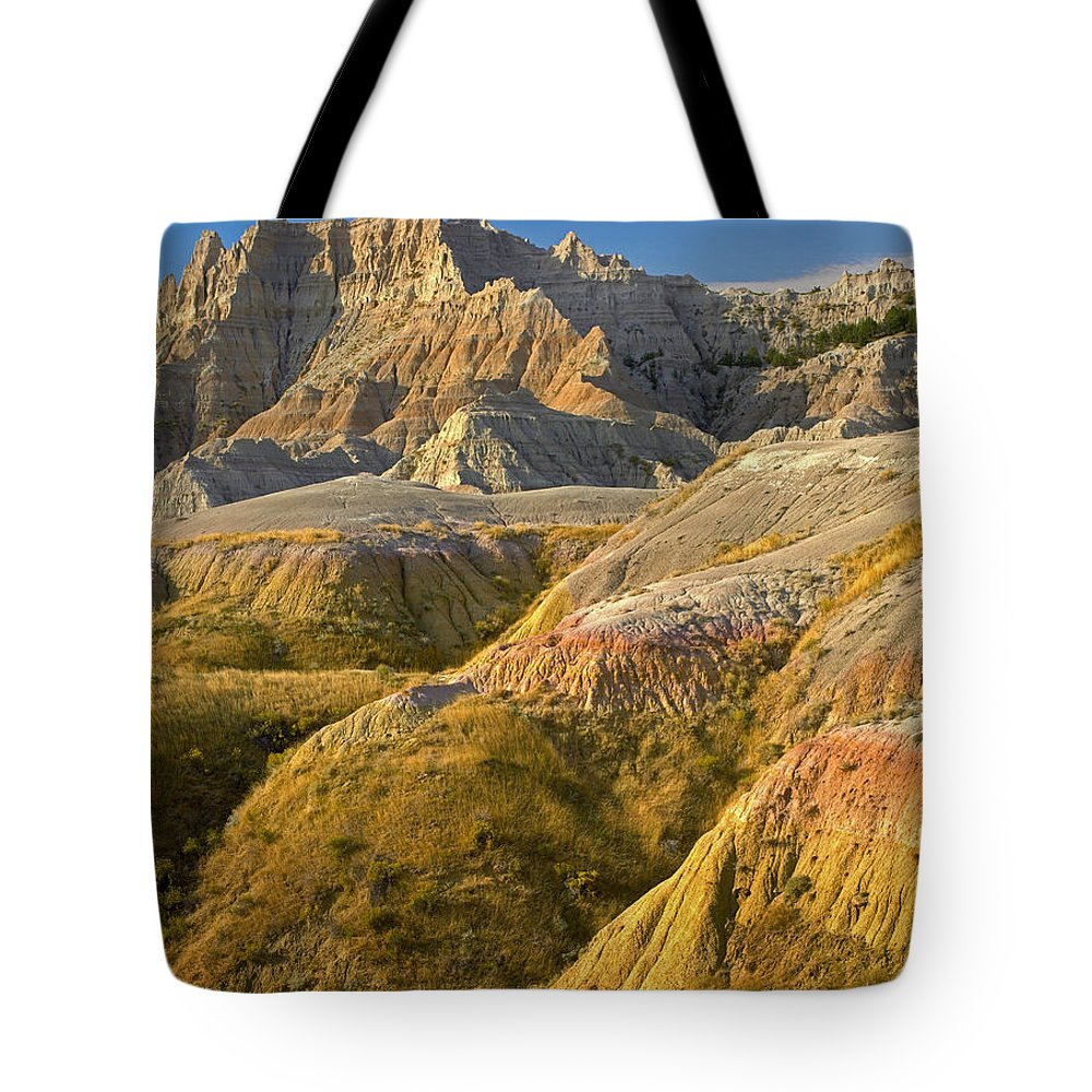 Badlands National Park Tote Bag featuring the photograph Eroded Buttes Badlands National Park by Tim Fitzharris