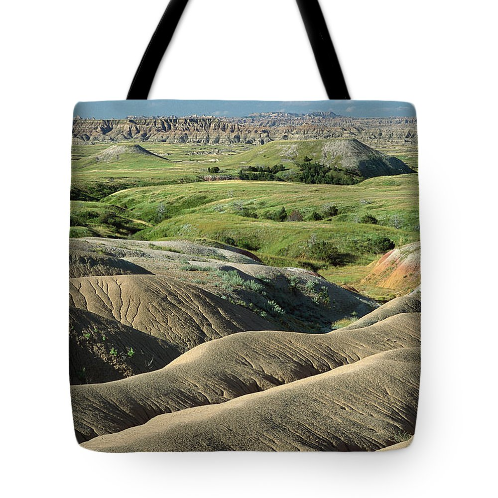Aerial View Tote Bag featuring the photograph Eroded Landscape Badlands Np by Gerry Ellis