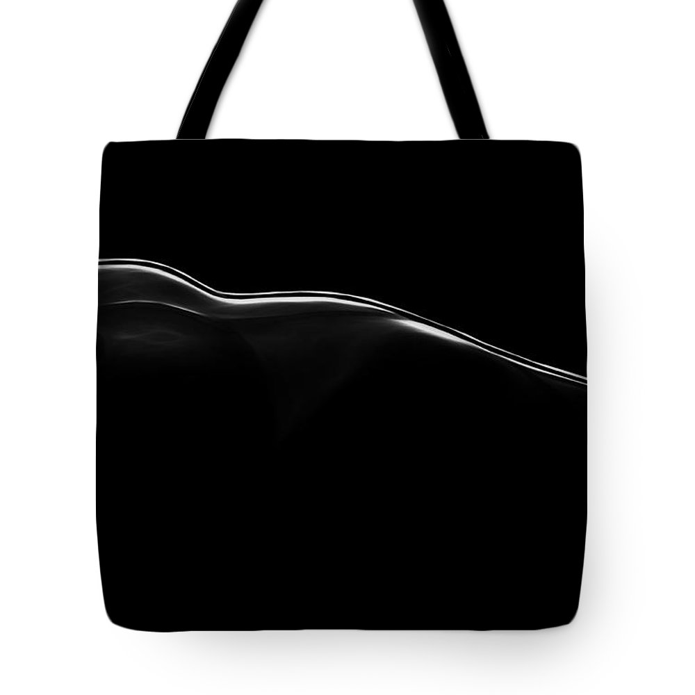 Landscape Black White Boobs Tits Nude Naked Female Woman Girl Body Shape Curve Curves Sensual Tote Bag featuring the painting Erotic Landscape by Steve K