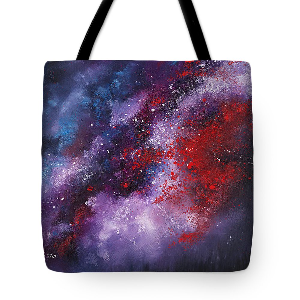 Oil Tote Bag featuring the painting Erupt by Christopher Lyter