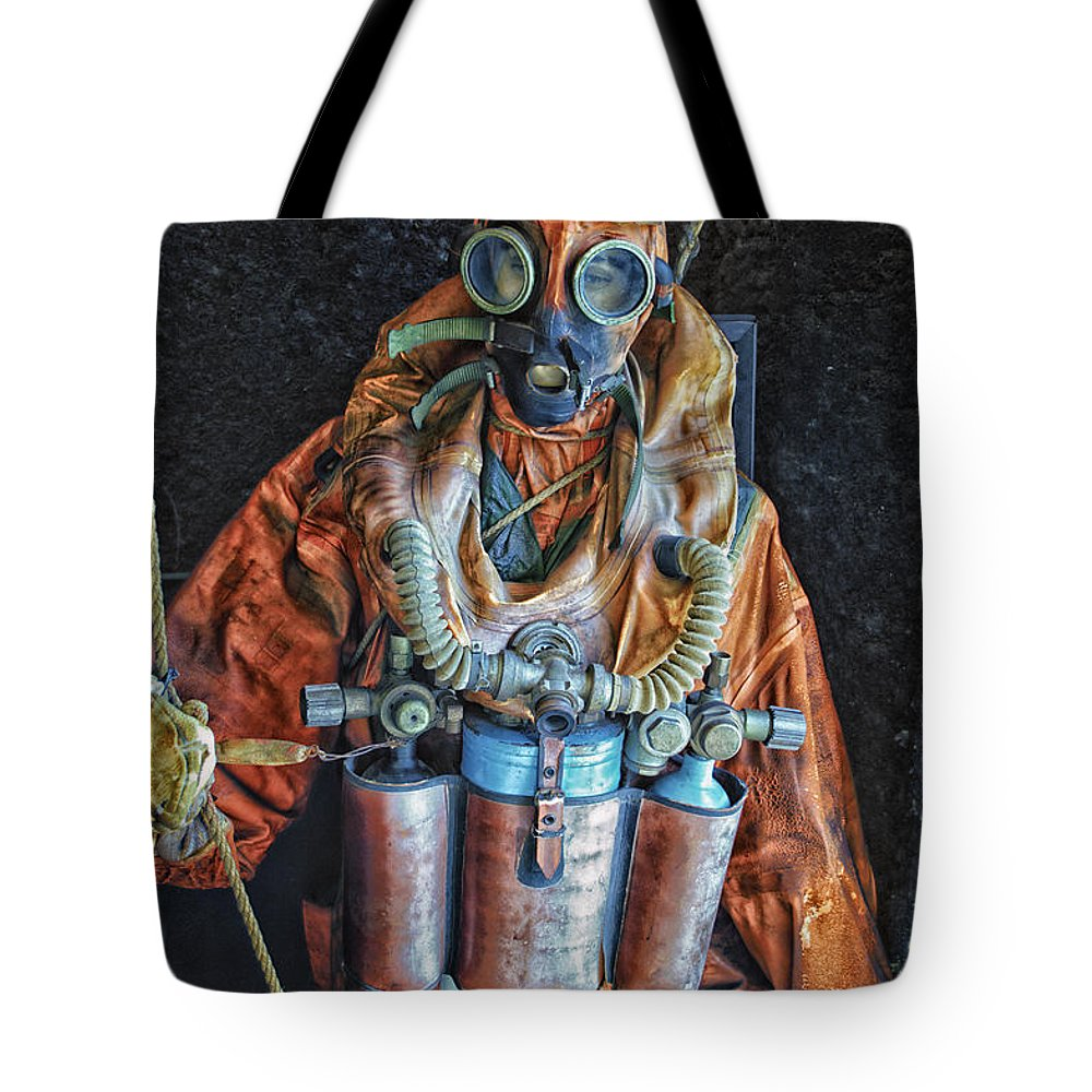 Submarine Tote Bag featuring the photograph Escape Suit Russian Submarine Sailor by Thomas Woolworth