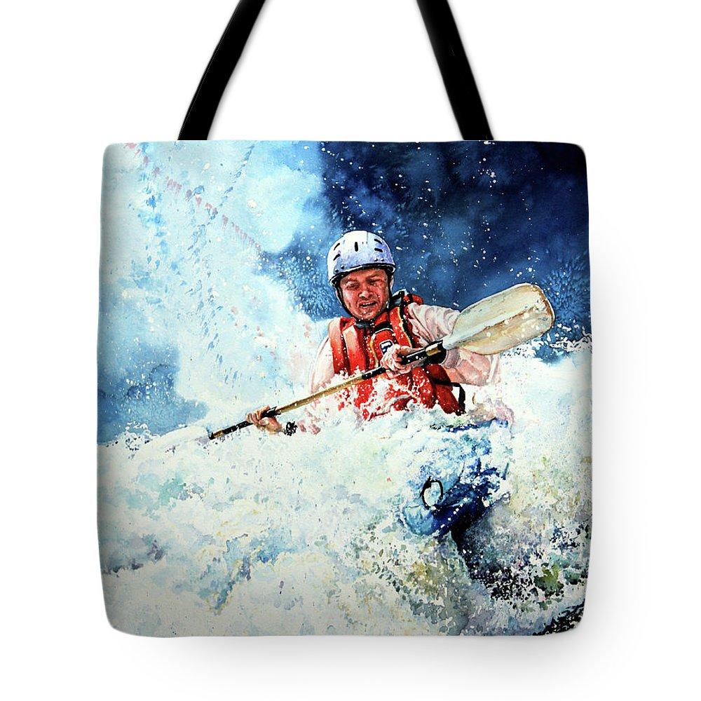 Kayak Tote Bag featuring the painting Eskimo Rolls by Hanne Lore Koehler