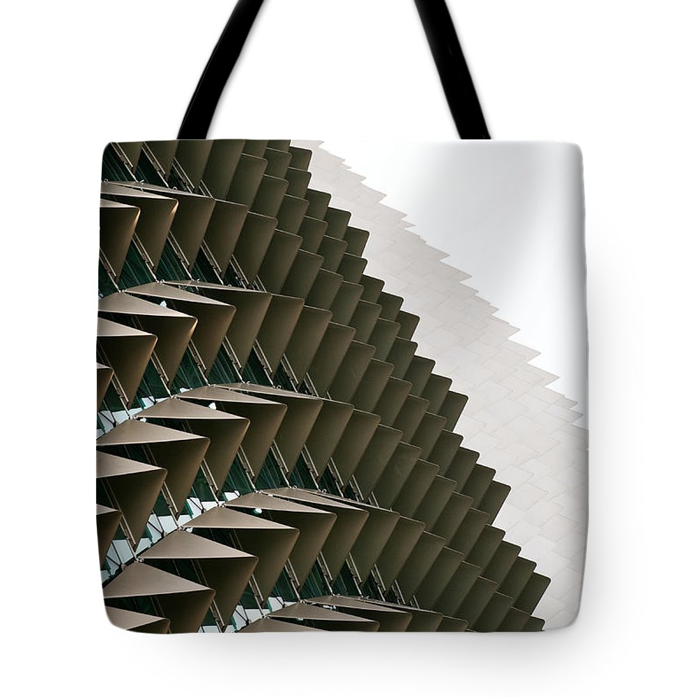Singapore Tote Bag featuring the photograph Esplanade Theatres Roof 10 by Rick Piper Photography