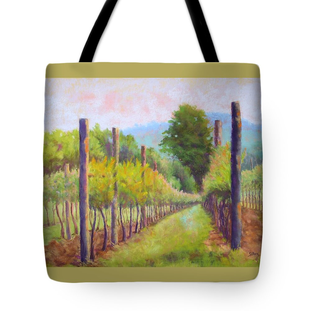Vineyard Tote Bag featuring the painting Estate Pinot by Nancy Jolley