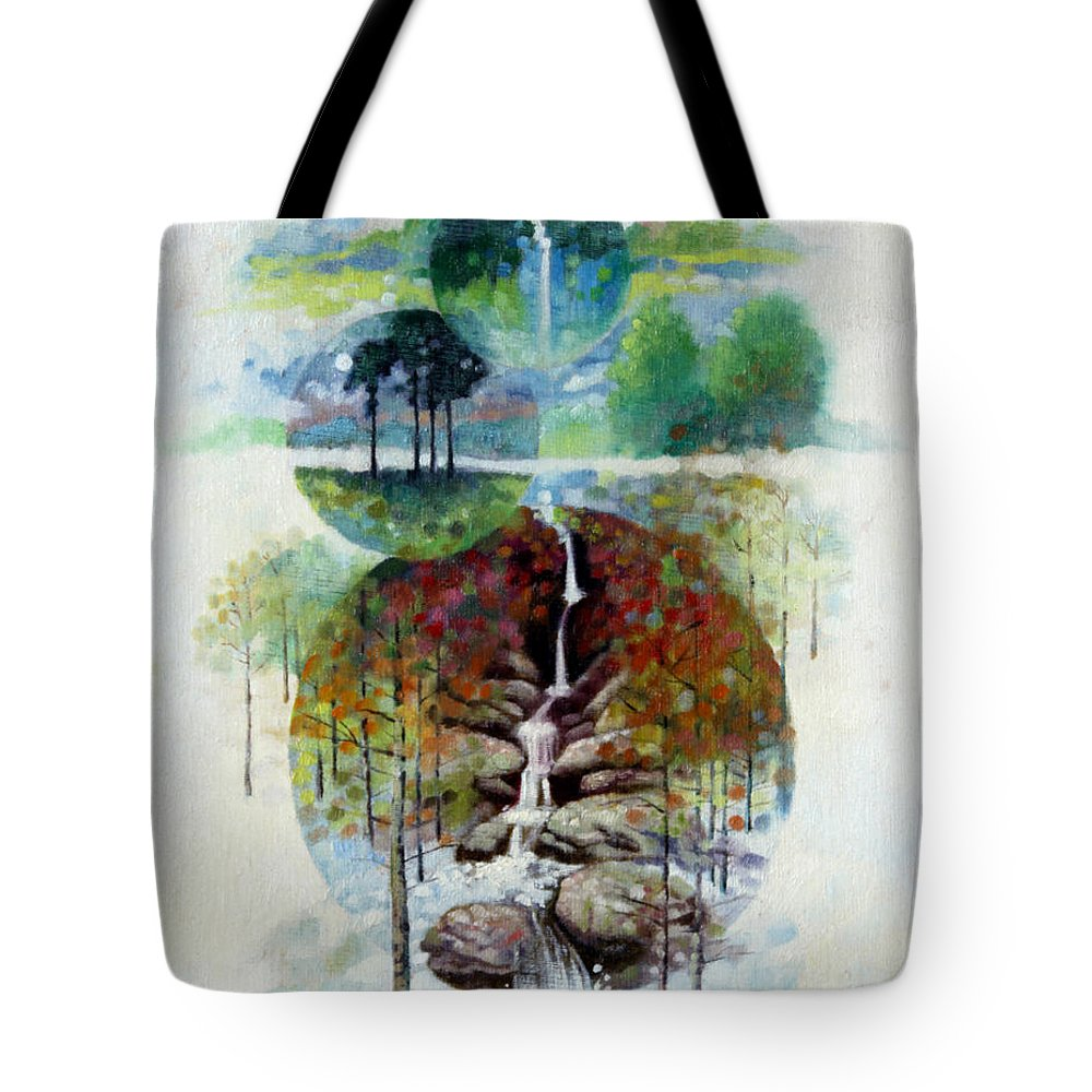 Waterfall Tote Bag featuring the painting Eternal Waterfall by John Lautermilch